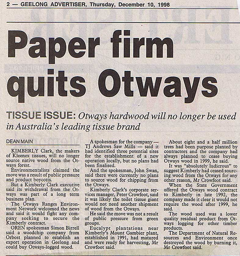 Kimberly Clark Quits Otways